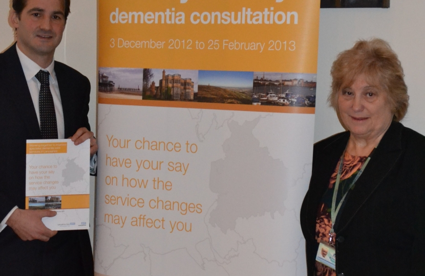 Jake Berry MP and Councillor Slater at dementia care consultation